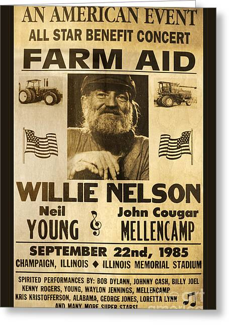 Willie Nelson Neil Young 1985 Farm Aid Poster Greeting Card by John Stephens