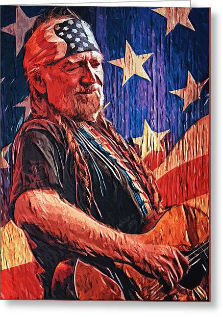 Willie Nelson Greeting Card by Taylan Soyturk