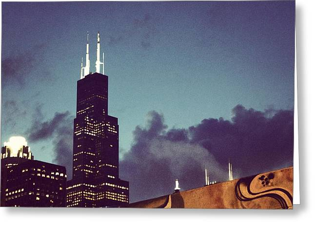 City Lights Greeting Cards - Willis Tower Chicago Greeting Card by Tania Rodamilans