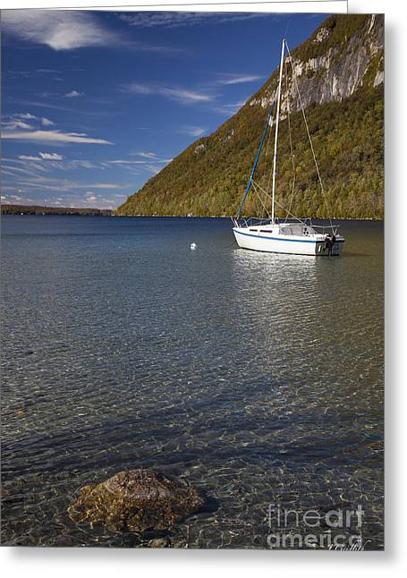 Sailboat Photos Greeting Cards - Willoughby Lake, Vt Fall 2015 Greeting Card by Jason  Griffith