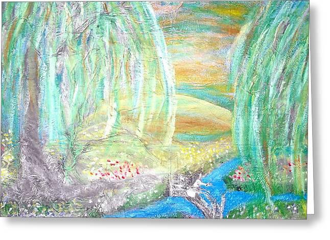 Willow Lake Pastels Greeting Cards - Willow Lake Greeting Card by BJ Abrams