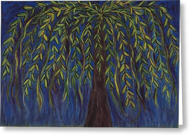 Weeping Mixed Media Greeting Cards - Willow Tree Greeting Card by Kristen Fagan