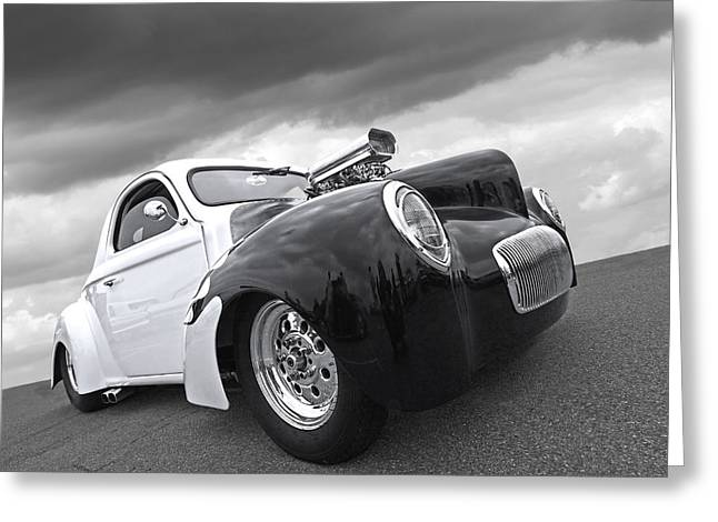 Monochrome Hot Rod Greeting Cards - Willys Coupe 1941 Greeting Card by Gill Billington