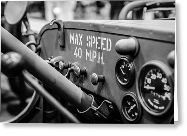 Steer Greeting Cards - Willys Jeep Dashboard Greeting Card by Marco Oliveira