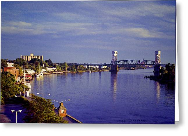 Ocean Art Photos Greeting Cards - Wilminton, North Carolina Fall Sunset Riverfront Greeting Card by Sandi OReilly