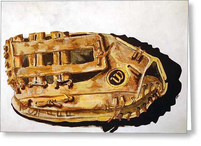 Baseball Glove Paintings Greeting Cards - Wilson Staff Pro Greeting Card by Jame Hayes