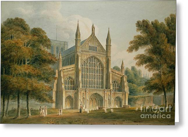 Figures Paintings Greeting Cards - Winchester Cathedral Greeting Card by John Buckler
