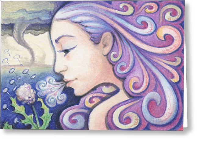 Atc Greeting Cards - Wind - The Elements Greeting Card by Amy S Turner