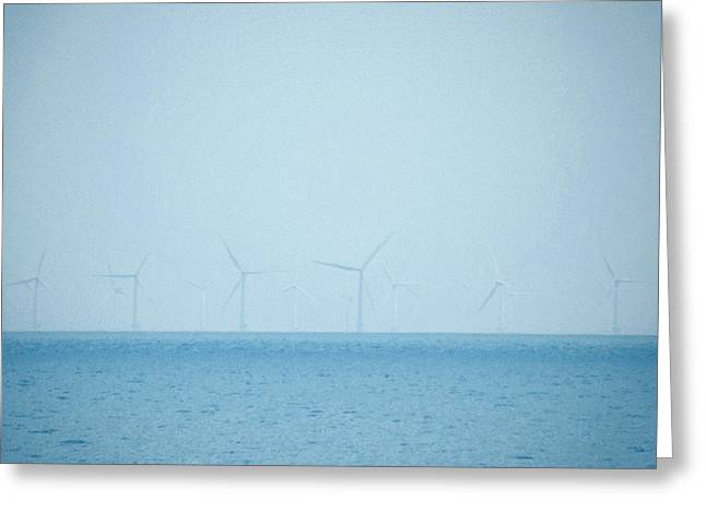 Power Plants Greeting Cards - Wind Farm At Sea Greeting Card by Brainwave Pictures
