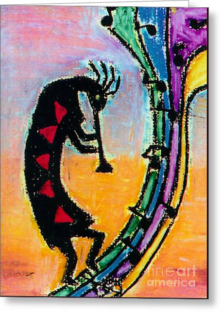 Cubist Pastels Greeting Cards - Wind Music Greeting Card by Susan Hendrich