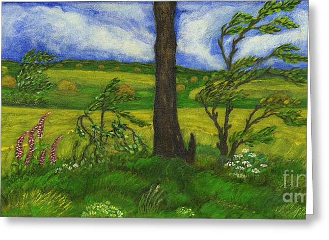 Wind Over The Fields Greeting Card by Anna Folkartanna Maciejewska-Dyba
