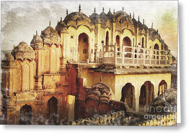 Jaipur Greeting Cards - Wind Palace Greeting Card by Delphimages Photo Creations