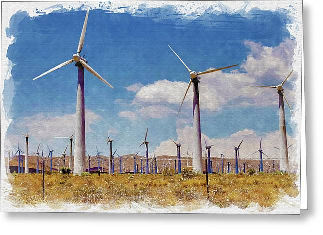 Vertical Greeting Cards - Wind Power Greeting Card by Ricky Barnard