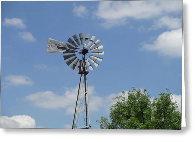 Windmill And Tree Greeting Cards - Wind powered Greeting Card by Kevin Caudill