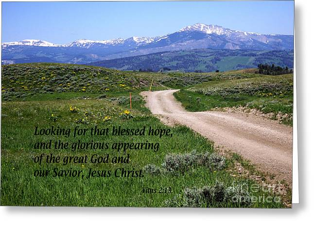 Testament Greeting Cards - Wind River Mountains with Titus 2 verse 13 Greeting Card by Barbara Dalton