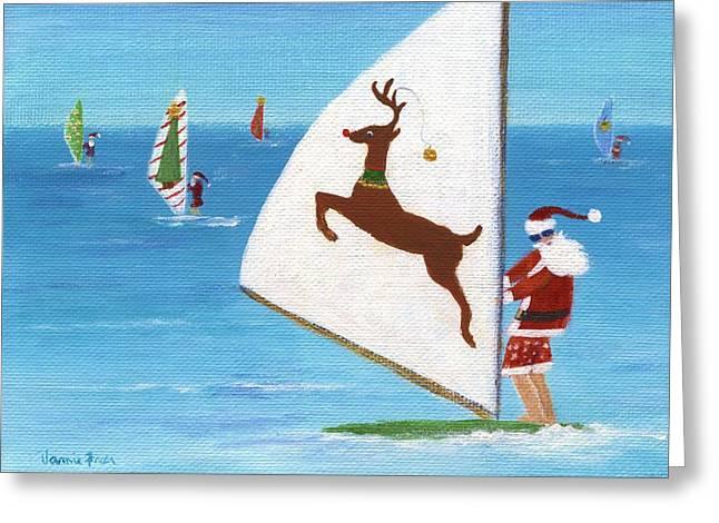 Wind Sailing Santa Greeting Card by Jamie Frier