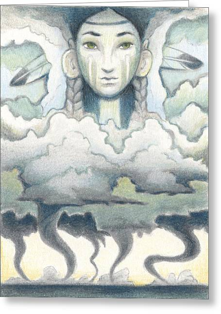 Storm Clouds Drawings Greeting Cards - Wind Spirit Dances Greeting Card by Amy S Turner