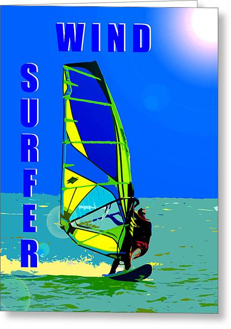 Wind Surfer Poster Greeting Card by David Lee Thompson
