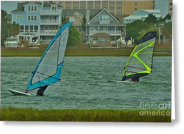 Surfer Art Greeting Cards - Sails Up At Wrightsville Beach NC Greeting Card by Bob Sample