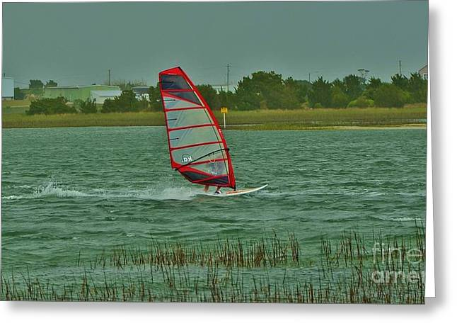 Sailboat Images Greeting Cards - Wind Surfing 2 Greeting Card by Bob Sample