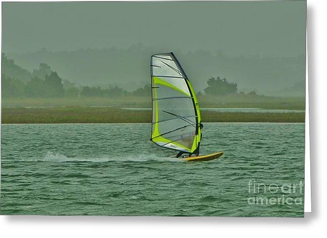 Sailboat Images Greeting Cards - Wind Surfing 3 Greeting Card by Bob Sample