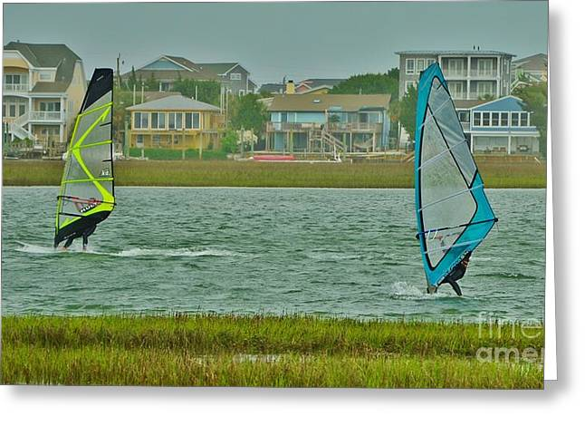 Sailboat Images Greeting Cards - Wind Surfing 4 Greeting Card by Bob Sample
