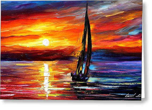 Landscape Pictures Greeting Cards - Wind Toching The Soul - PALETTE KNIFE Oil Painting On Canvas By Leonid Afremov Greeting Card by Leonid Afremov