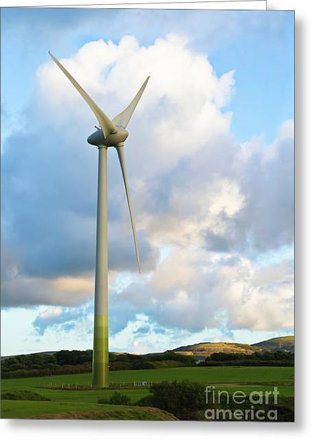 Wind Turbine Cornwall Greeting Card by Terri Waters