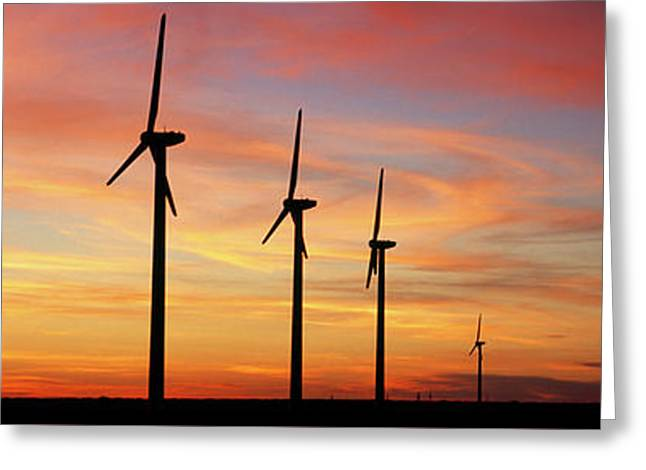 Wind Turbine In The Barren Landscape Greeting Card by Panoramic Images