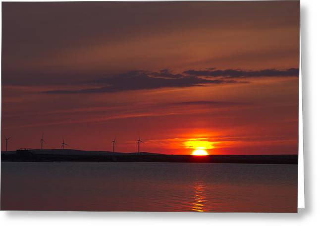 Generators Greeting Cards - Wind turbines at sunset Greeting Card by Chris Smith