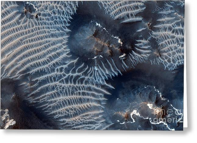 Windblown Sediments. Noctis Labyrinthus. Mars Greeting Card by Celestial Images