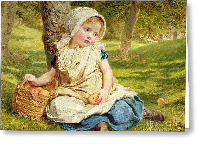 Apple Orchards Greeting Cards - Windfalls Greeting Card by Sophie Anderson
