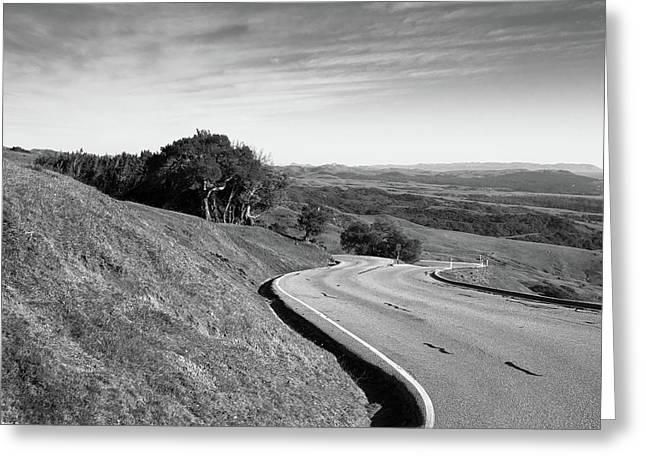 Winding Road Along The Rolling Hills Near San Simeon, Ca Greeting Card by Bradley Hebdon
