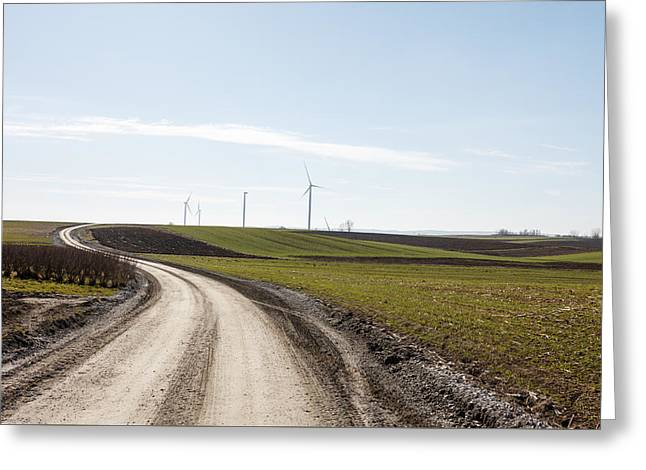 Generators Greeting Cards - Winding Road And Windmill Greeting Card by Artur Mroszczyk
