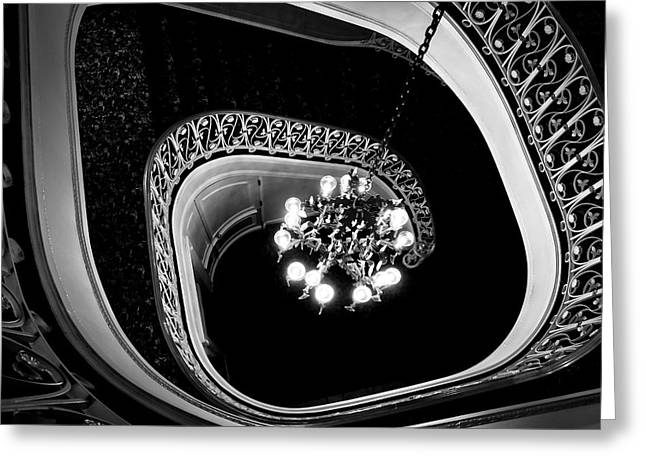 Winding Staircase In Black And White Greeting Card by Colleen Kammerer