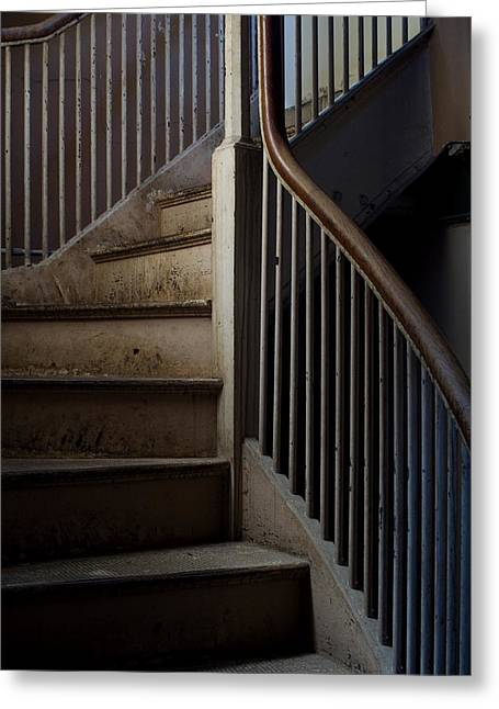 Groton Greeting Cards - Winding Staircase With Banister In An Greeting Card by Todd Gipstein