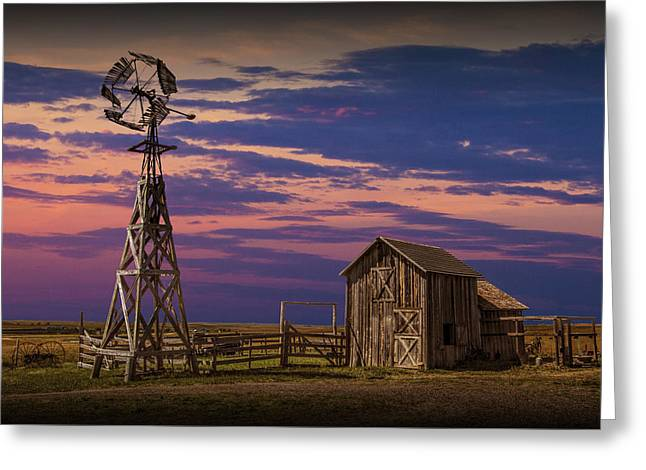 Randy Greeting Cards - Windmill and Barn on the Prairie at Sunset Greeting Card by Randall Nyhof