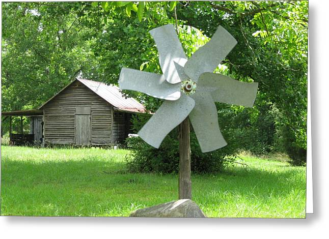Outbuildings Greeting Cards - Windmill and Corn Crib Greeting Card by Philip Burrow