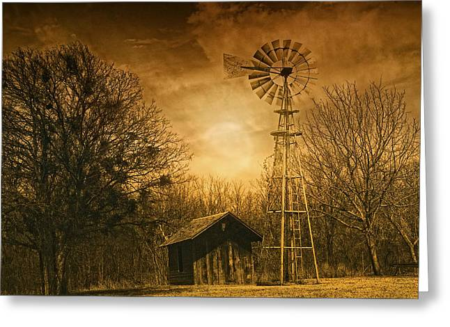Old Barns Greeting Cards - Windmill at Sunset Greeting Card by Iris Greenwell