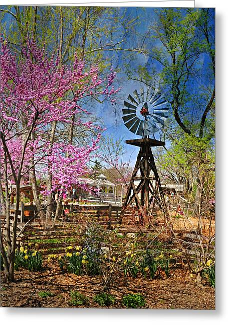 Marty Koch Greeting Cards - Windmill At The Garden Greeting Card by Marty Koch