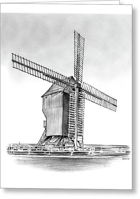 Windmill At Valmy Greeting Card by Greg Joens