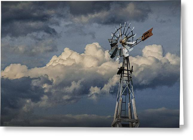 Randy Greeting Cards - Windmill Energy on Old Prairie Farm Greeting Card by Randall Nyhof