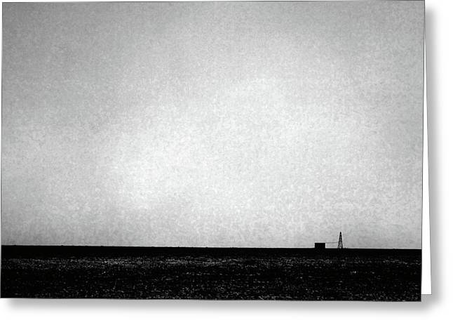 Wasteland Greeting Cards - Windmill in Black and White Greeting Card by Scott Sawyer