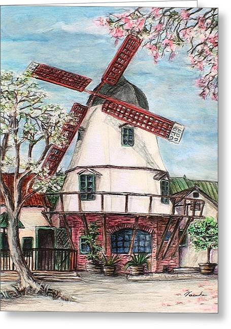 Wooden Building Drawings Greeting Cards - Windmill in Danish village Solvang California Greeting Card by Danuta Bennett