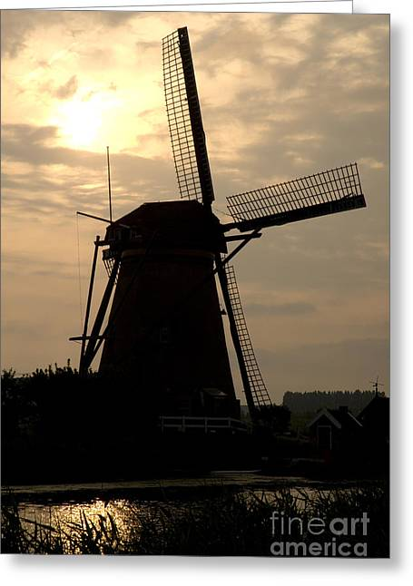 Holland Greeting Cards - Windmill in Silhouette Greeting Card by Andy Smy