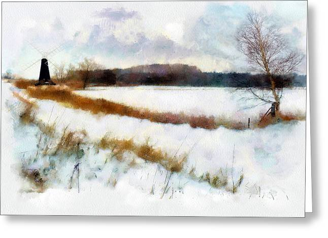 Windmill In The Snow Greeting Card by Valerie Anne Kelly