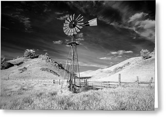 Windmill Stained Greeting Card by Todd Klassy
