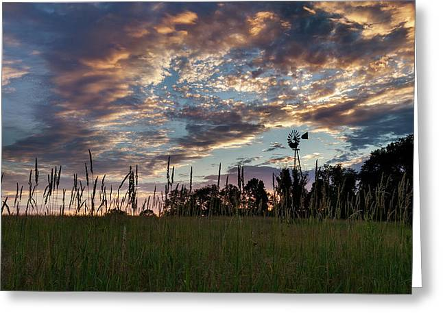 Windmill Sunset Greeting Card by Bill Wakeley