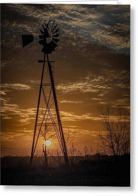 Cole Greeting Cards - Windmill Sunset Greeting Card by Larry Pacey