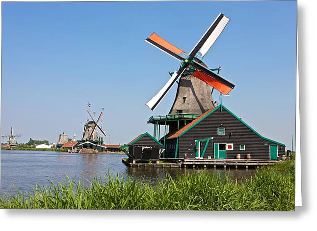 Zaans Greeting Cards - Windmills at Zaanse Schans Greeting Card by Johan Elzenga